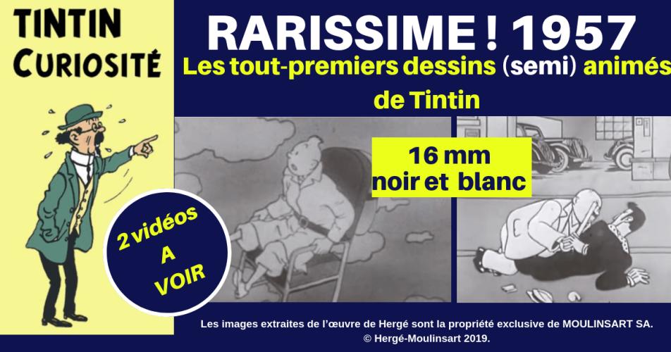 VIDÉO : TRÈS RARE : PREMIERS DESSINS (SEMI) ANIMÉS DE TINTIN (1957)