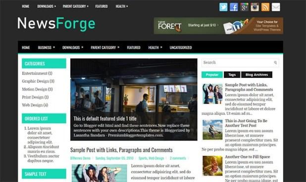NewsForge Blogger Template