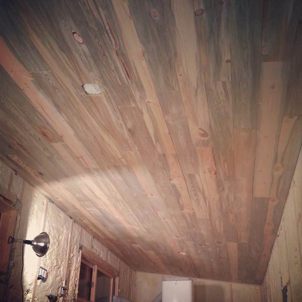 Beautiful blue stain beetlekill pine ceiling and walls