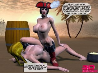 2 horny pirate lezzies are poking each other on a deprived island