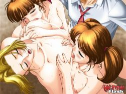 4 cute hentai honeys demonstrating their sexy humungous tits
