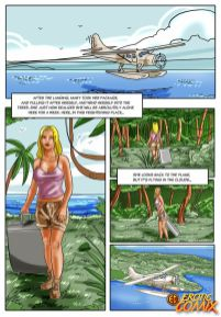 Excited ash-blonde comics honey having lovemaking with a flower and peeing in the woods