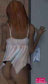Hot redheaded 3D vixen April unwrapping white babydoll and romping John's monster bone