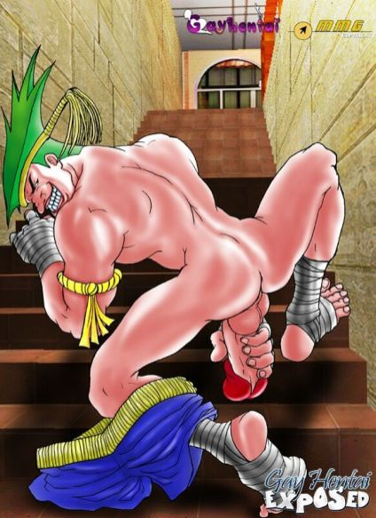 Rosy haired hentai gay boning a dude's a-hole outdoors