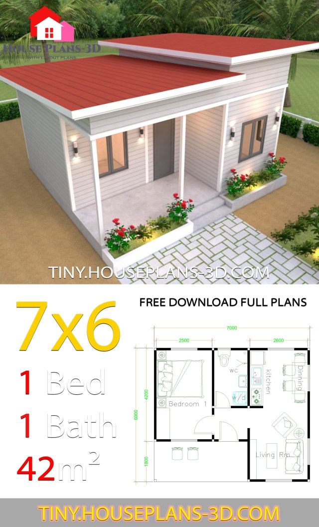 Tiny House Plans 7x6 with One Bedroom Shed Roof - Tiny ...