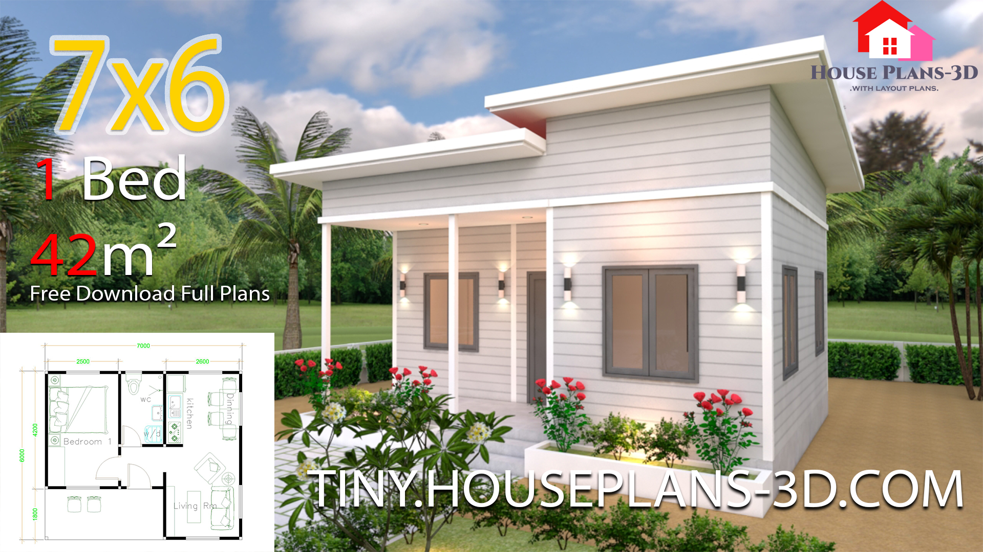 Tiny House Plans 7x6 With One Bedroom Shed Roof Tiny House Plans