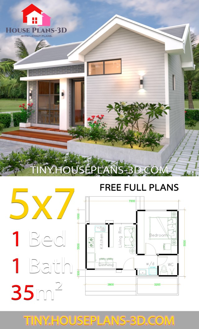 Small House Design Plans 5x7 With One Bedroom Gable Roof Tiny House Plans