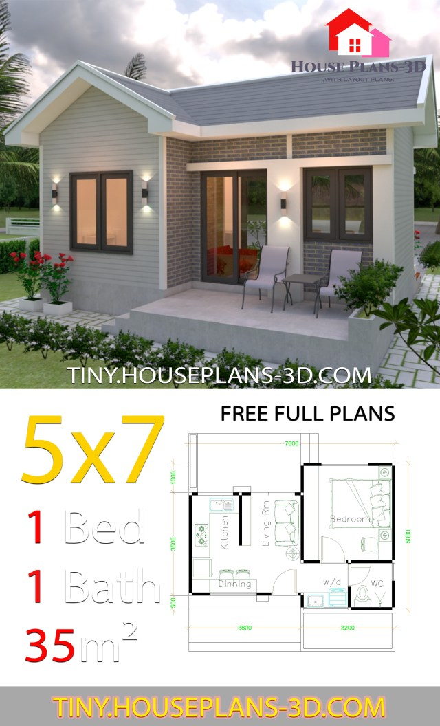 Small House Plans 5x7 With One Bedroom Gable Roof Samphoas Plan