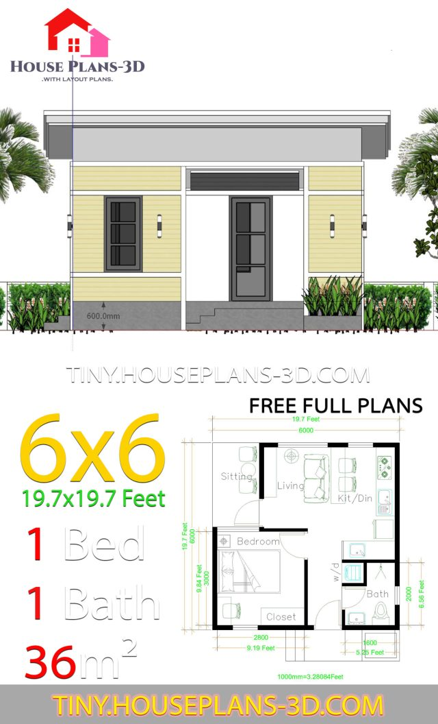 one bedroom house plans 6x6 with shed roof  tiny house plans