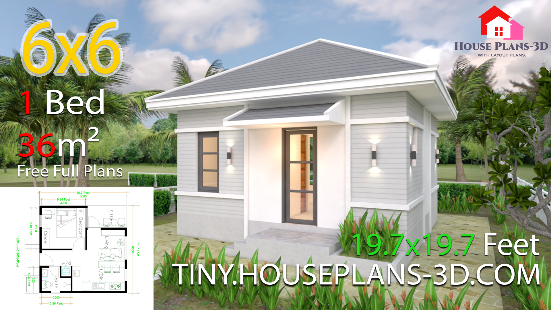 Small House Plans 6x6 with One Bedroom Hip Roof - Tiny House Plans