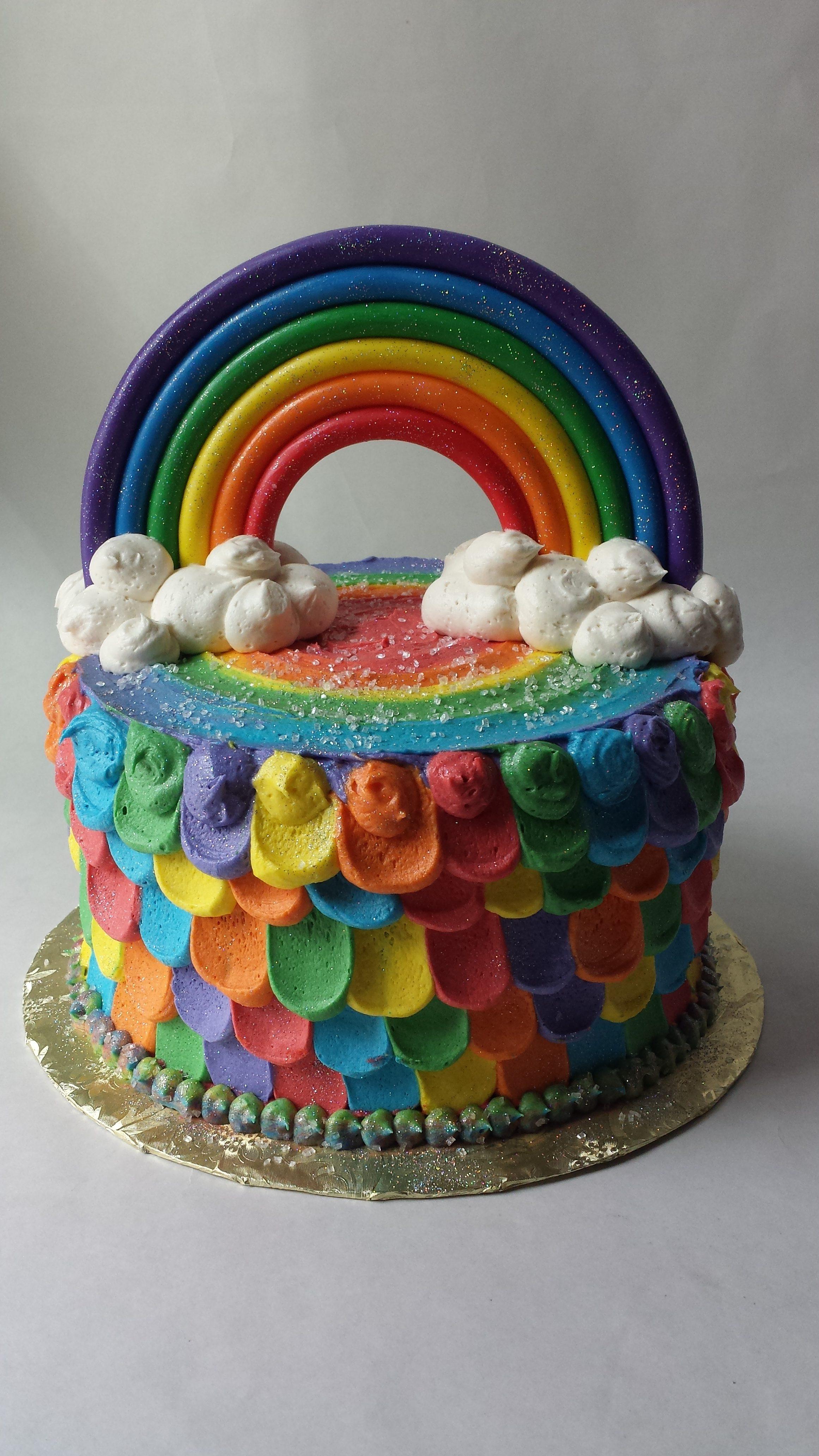 Multi color rainbow birthday cake