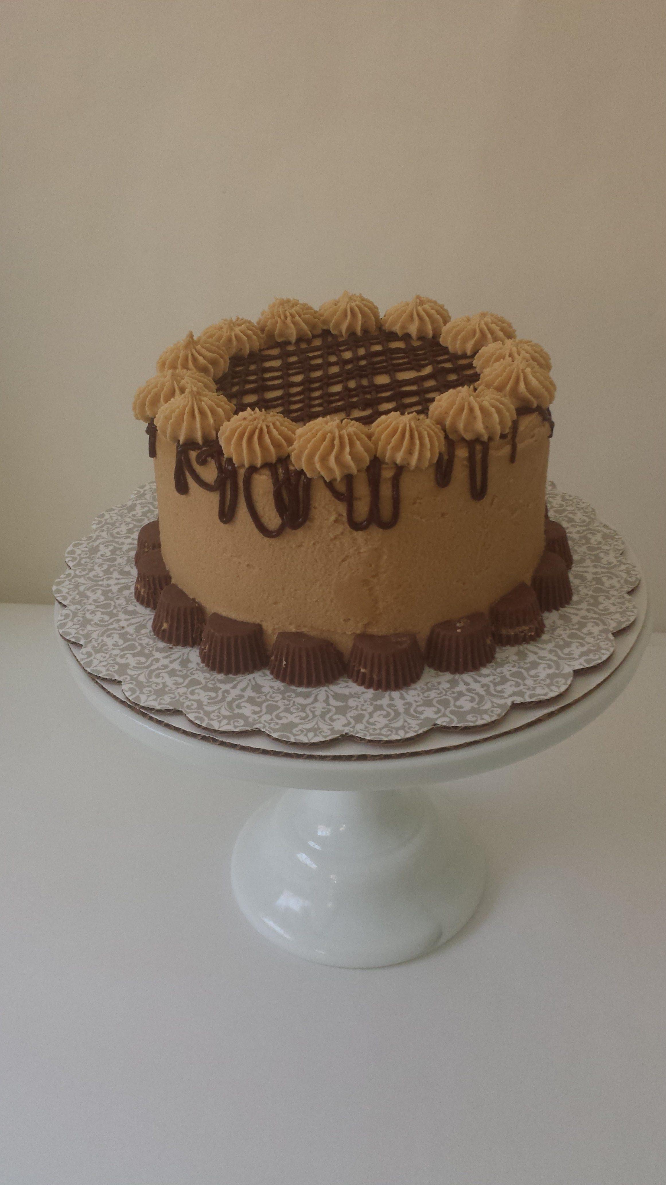 birthday cake, cake, chocolate peanut butter