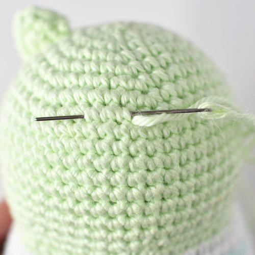 Attaching Bear Ears - Bunny & Bear Amigurumi Pattern by Tiny Curl