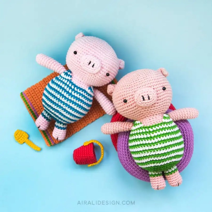 Piglet on Holiday Pattern by Airali Design