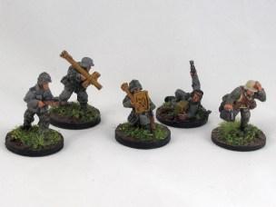 From left: a sniper, 2 panzerschrecks, forward observer and medic.
