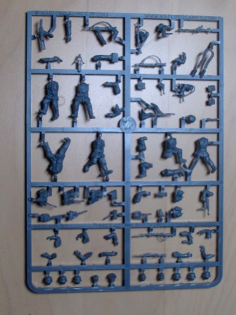 "This is the same sprue as the ""Blitzkrieg infantry"". The engineering bits are separate and in metal."