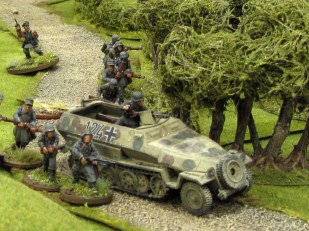 The Germans launching an unsuccessful counter-attack on the road to Arnhem