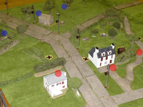 Final position of patrol markers, and JoPs in red for Germans, blue for Brits.