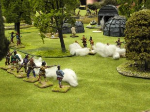 Indians battling in the woods