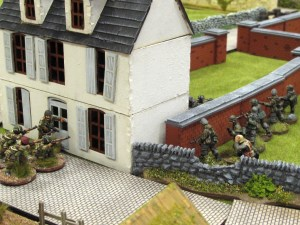 As the Germans sneak up on the house a second British section comes in through the front door to reinforce their mates upstairs