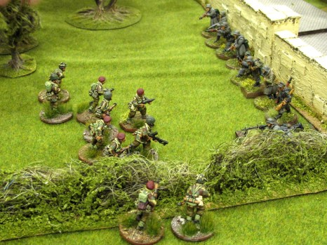 As the Germans leap over the high wall, an aggressive para section engages them at extremely close range.