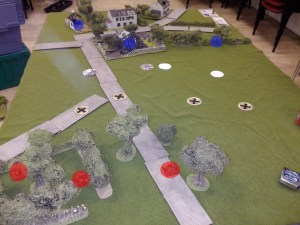 German patrol markers in the sunken lane and the small woods. The British went for a 2-up 1-back defence.
