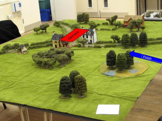 Initial deployment, Germans in the centre, Poles advancing onto the table