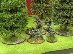 The main German blocking force deploys in the orchard