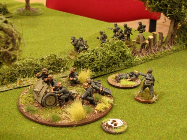 The infantry gun turns to face the threat on the flank