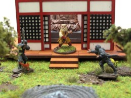 A warrior monk defends the temple from marauding ninjas