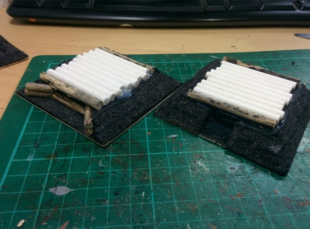 The foamcore base, with added sticks