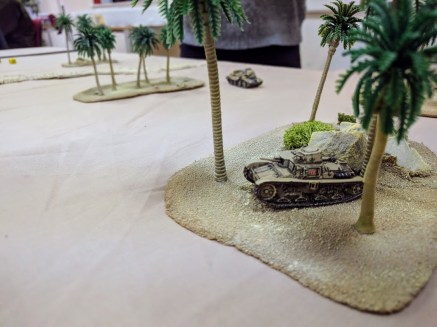 Immobilised and down to one dice, this Italian tank is about to finally fall prey to the A13 in the background