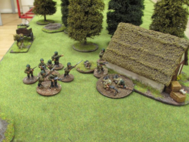 Red troops move up to the house...