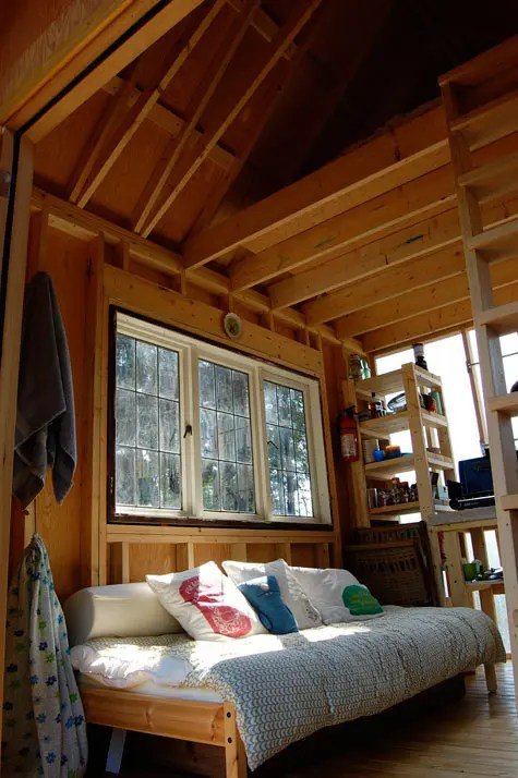 Beautiful shed cabin on gambier island b c solar burrito for Shed roof cabin with loft