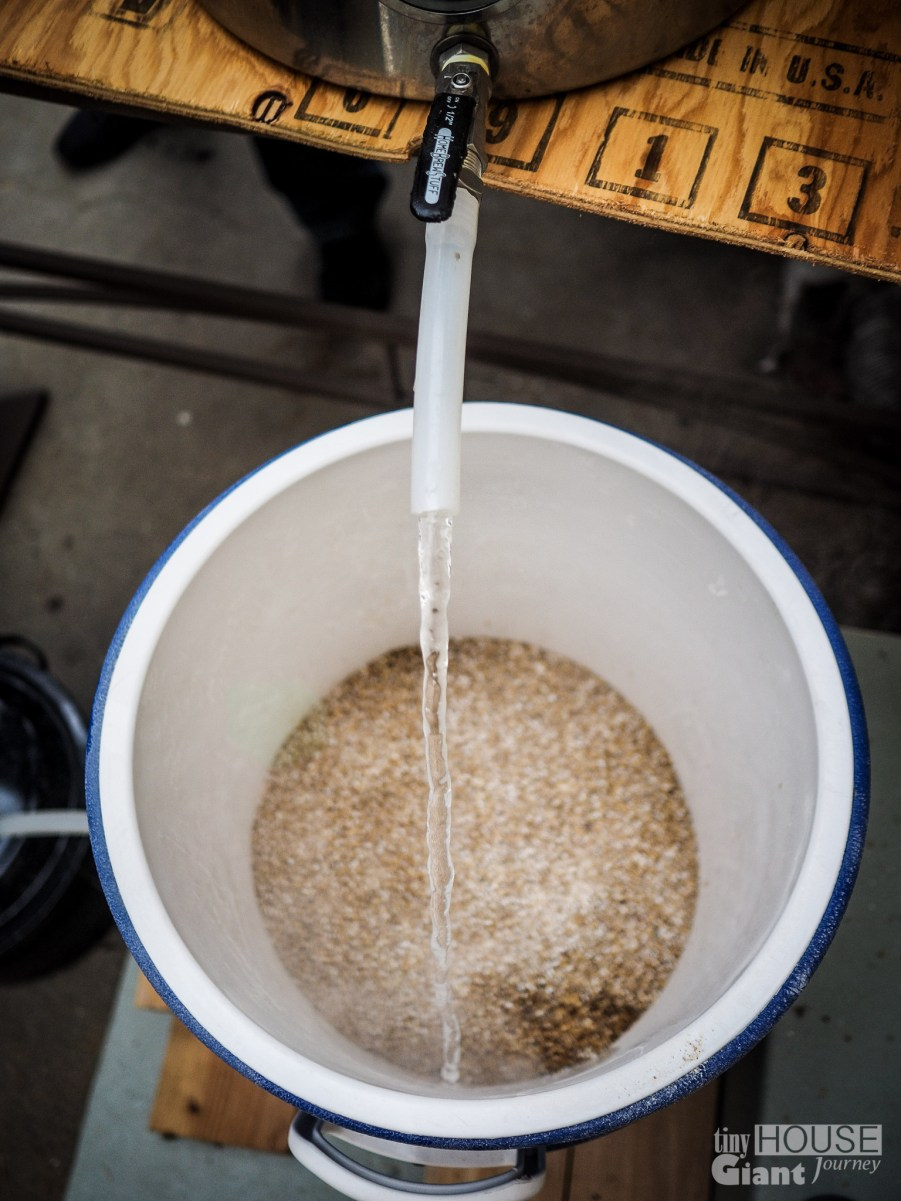 3) Pour heated water in w/ grains