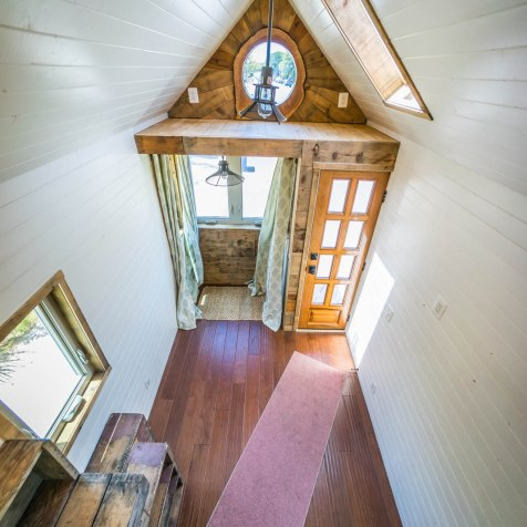 View looking down from the unfinished loft