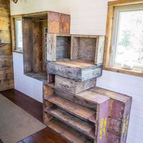 Staircase made of reclaimed crates