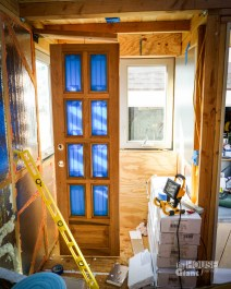 Stained door drying