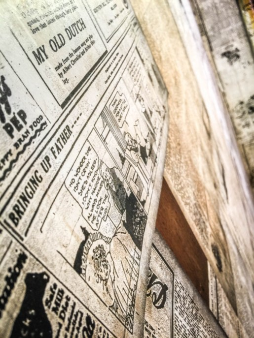 Old newspaper use for insulation on the slave homes