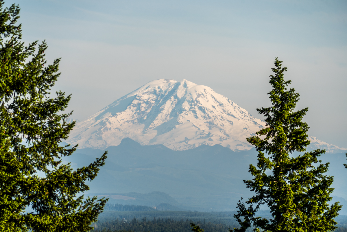 Mt. Rainier can be seen from a nearby hiking trail