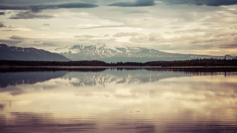 Mt. Edziza Reflecting in Morchuea Lake