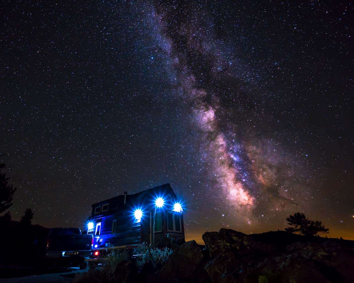 Our Tiny House under the Milky Way at Craters of the Moon
