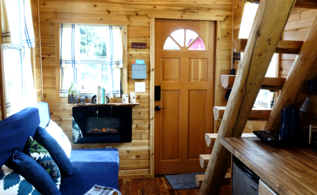 Tiny Log Cabin On Wheels Is Available For Rent In Portland
