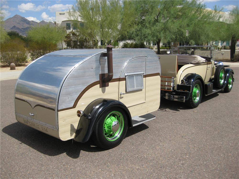 29 Ford Model A Roadster With 59 Teardrop Camper