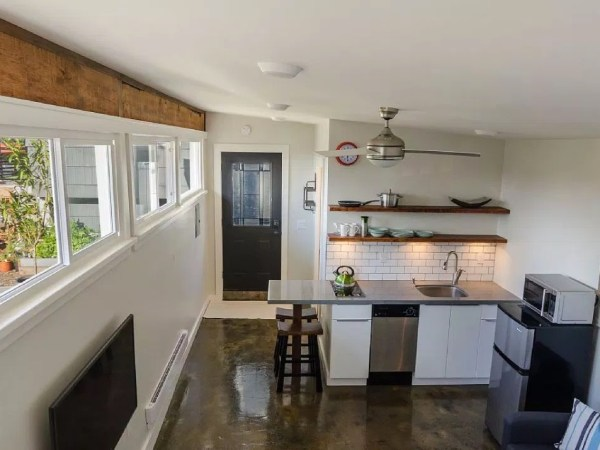 garage converted into 250 sq ft tiny house now for sale. Black Bedroom Furniture Sets. Home Design Ideas