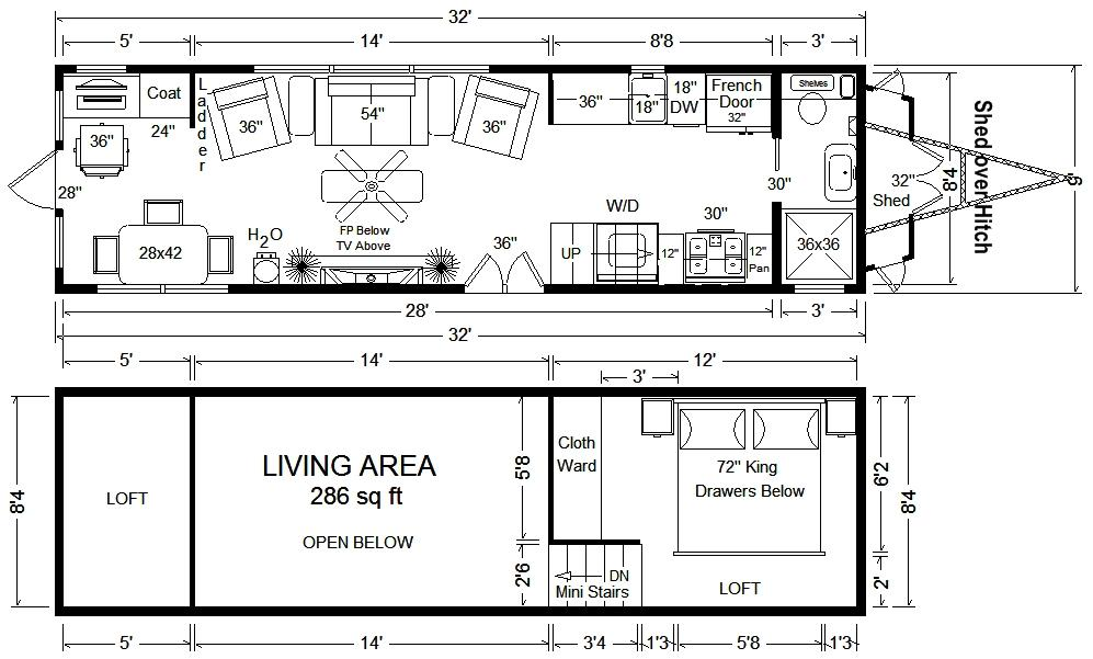 Tiny House Floor Plans 32' Tiny Home On Wheels Design