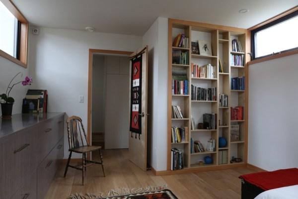 built-in bookshelf in bedroom