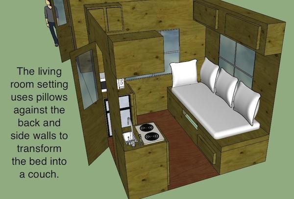 Interior Design of 8x8 Micro Cabin