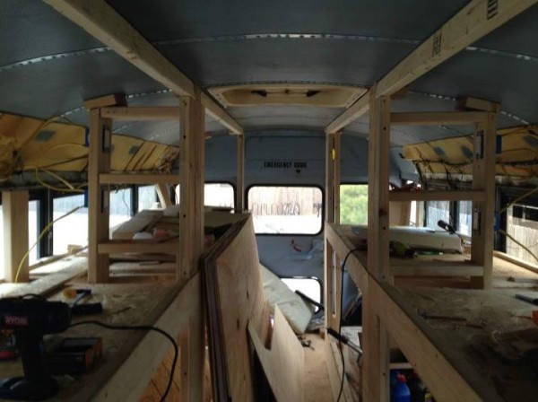 rv kitchen appliances gel mats for 8 students convert old school bus into an amazing diy ...