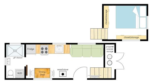 Adobe Tiny House by Mitchcraft Floor Plan